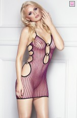 Go-Go Sets 7heaven - Coco Provocerande Svart / Rosa Randiga Fishnet Dress