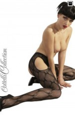 Garter stockings Cottelli Collection Tights ouvert black - Strumpbyxor