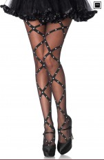 Strumpbyxor Leg Avenue - 7916 Pantyhose With Contrast Woven Criss Cross Dot Detail