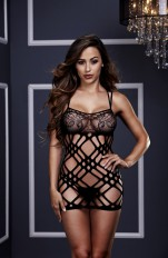 Nattlinnen och Klänningar Baci - 3128 Double Strap Lace Mini Dress