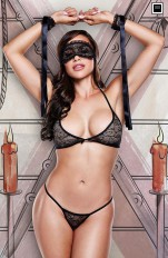 Övriga Sets Baci - 1326 Love Slave - Black Lace Bra/ Panty/ Mask