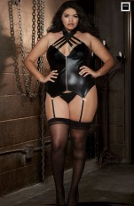 Plus size underkläder XL+ Dreamgirl - 10157X Black Bustier and G-String