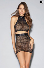 Underkläder Sets Dreamgirl - 11029 Mosaic Lace Halter Bralette and Skirt Set