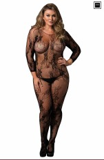 Plus size underkläder XL+ Leg Avenue - 89170Q Floral Lace Bodystocking