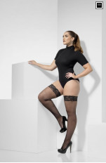 Plus size Nylostrumpor/ Stay-ups Fever - 43554 Fishnet Hold-Ups